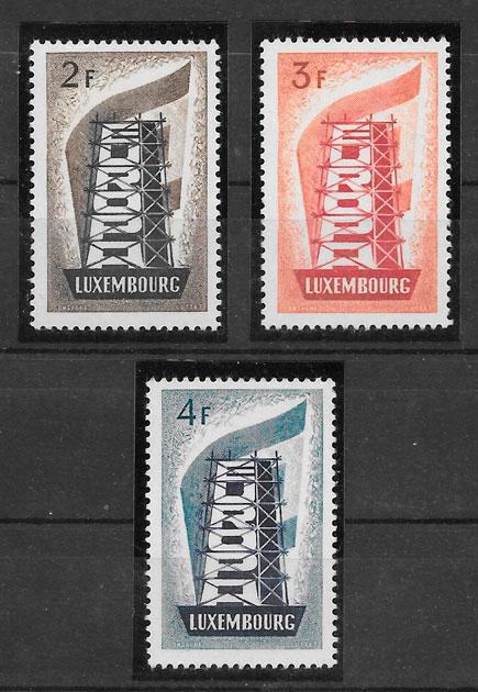 filatelia tema Europa Luxemburgo 1956