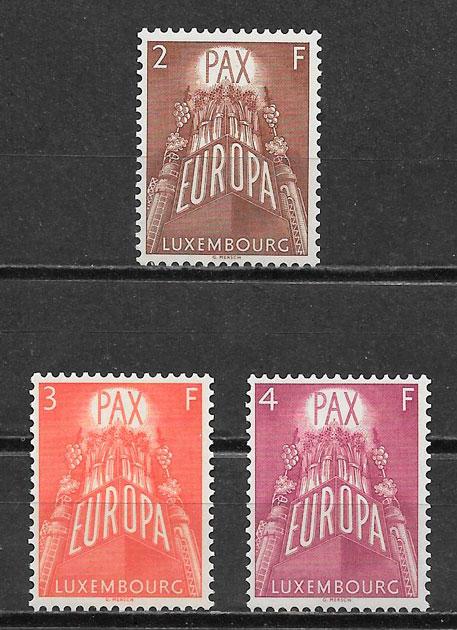 filatelia tema Europa Luxemburgo 1957