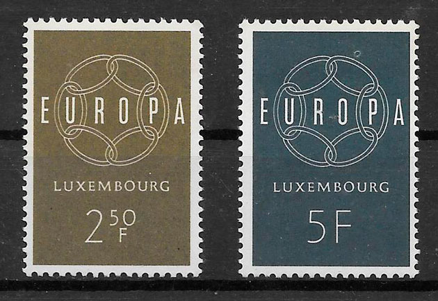 filatelia colección tema Europa Luxemburgo 1959