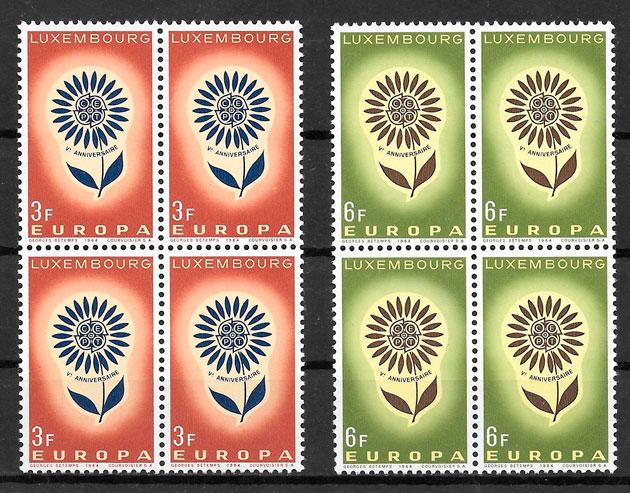 colección sellos tema Europa Luxemburgo 1964