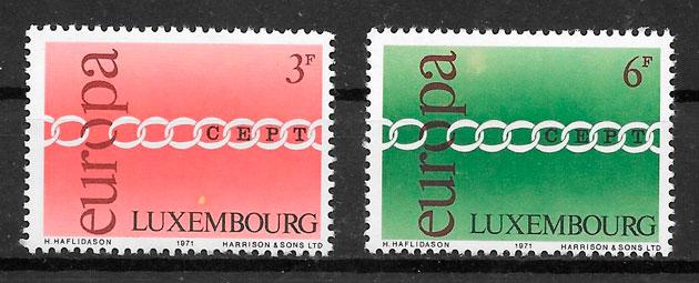 filatelia colección tema Europa Luxemburgo 1971
