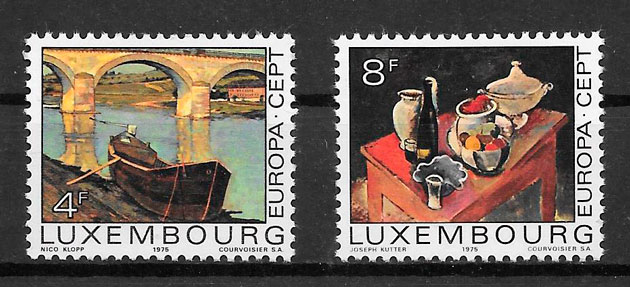 filatelia colección tema Europa Luxemburgo 1975