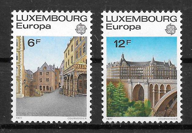 filatelia colección tema Europa Luxemburgo 1977