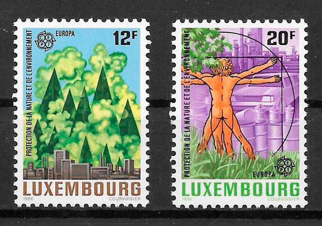 colección sellos tema Europa Luxemburgo 1986