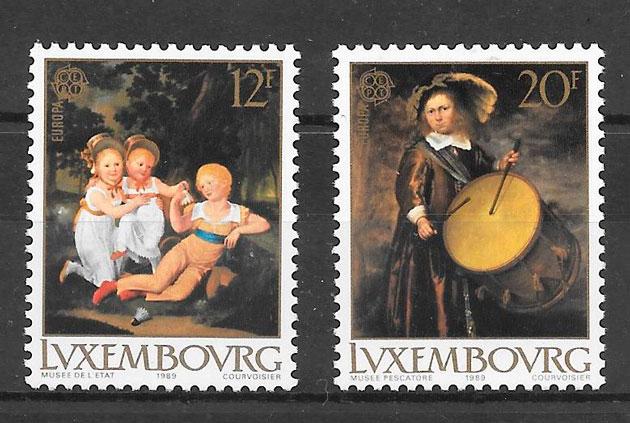 sellos tema Europa Luxemburgo 1989