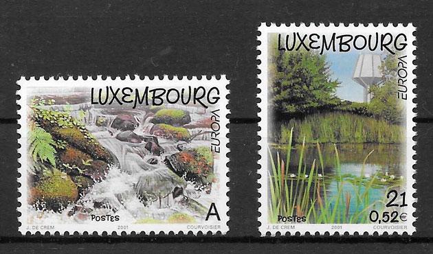 filatelia colección tema Europa Luxemburgo 2001