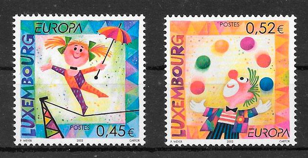 filatelia colección tema Europa Luxemburgo 2002