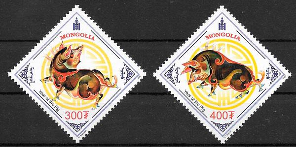 filatelia coleccion año lunar Mongolia 2006