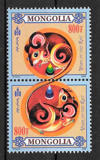 filatelia coleccion año lunar Mongolia 2008