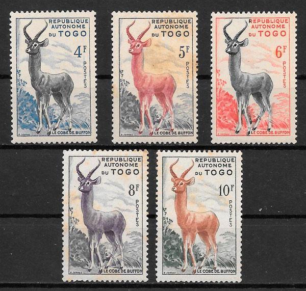 sellos fauna Togo 1957