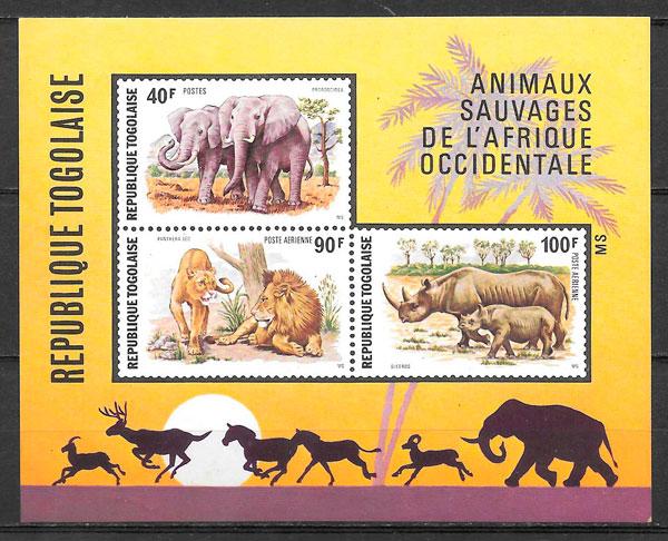 filatelia fauna Togo 1974