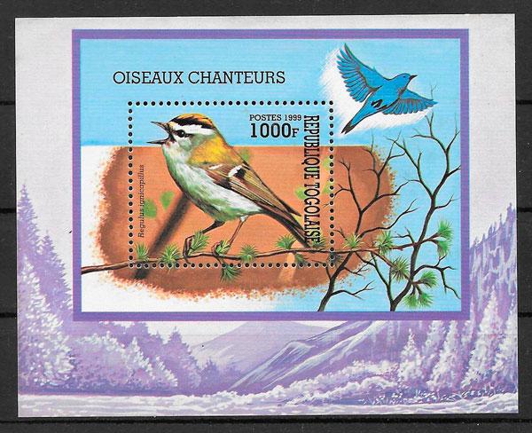 filatelia colección fauna Togo 1999