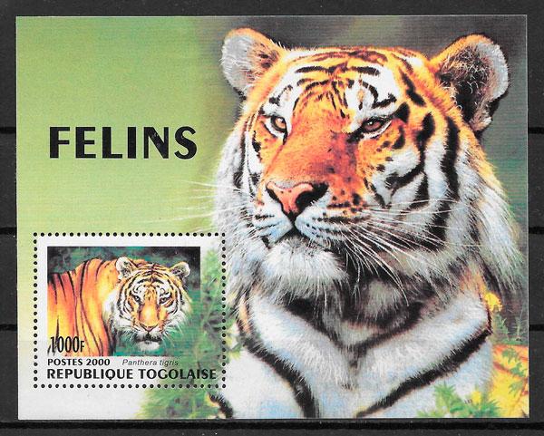 filatelia colección fauna Togo 2000