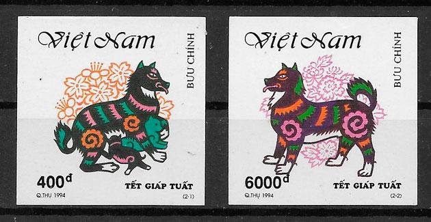 filatelia coleccion año lunar Mongolia 1994