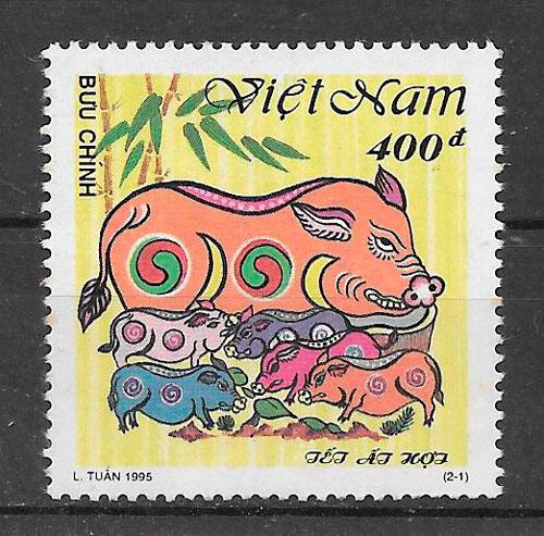 filatelia coleccion año lunar Viet Nan 1995