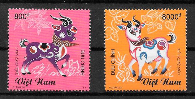coleccion sellos año lunar Viet Nam 2002