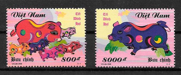 sellos año lunar Viet Nam 2006