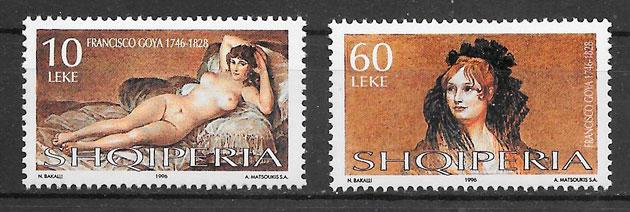 filatelia colección pintura Albania 1996
