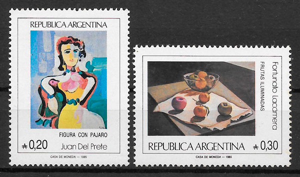 sellos pintura Argentina 1985