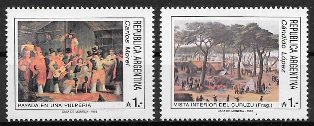 colecciíon sellos pintura Argentina 1988