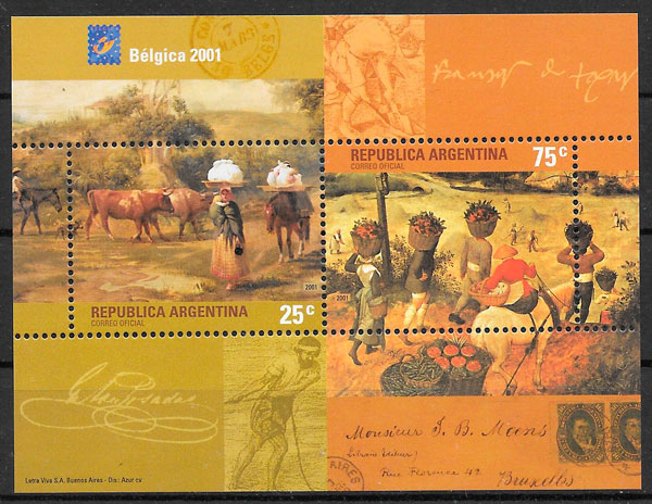 colección sellos pintura Argentina 2001