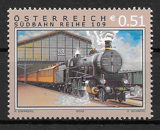 filatelia trenes Austria 2002