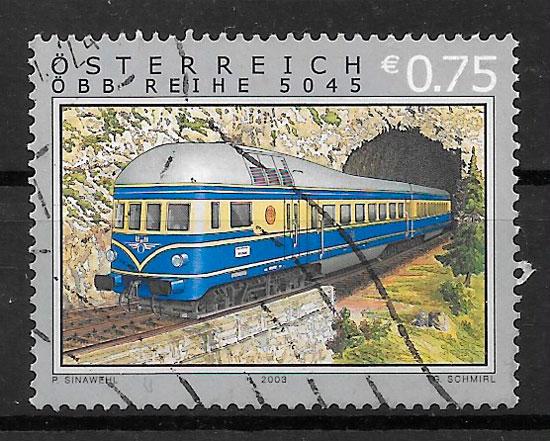 colección sellos trenes Austria 2003