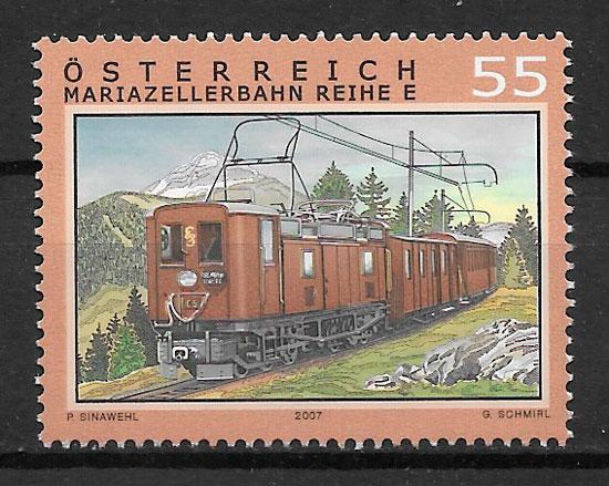 colección selos trenes Austria 2007