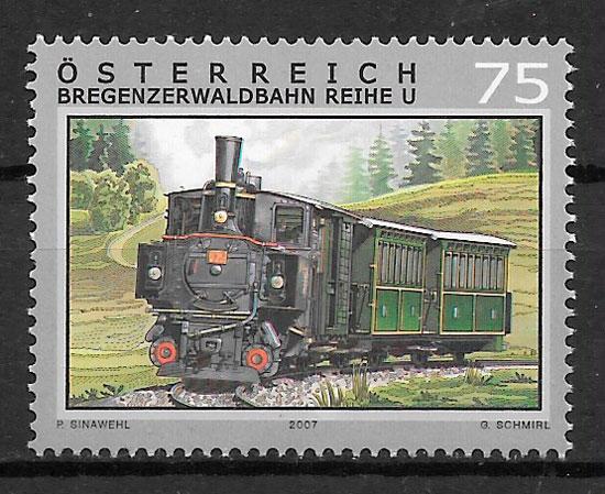 colección sellos trenes Austria 2007
