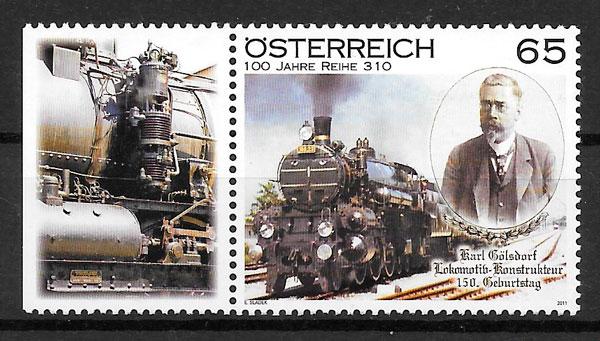 filatelia trenes Austria 2011