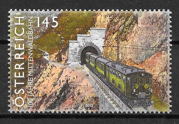 filatelia colección trenes Austria 2012