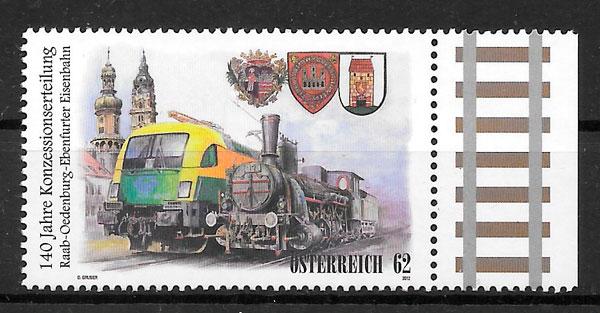 colección sellos trenes Austria 2012
