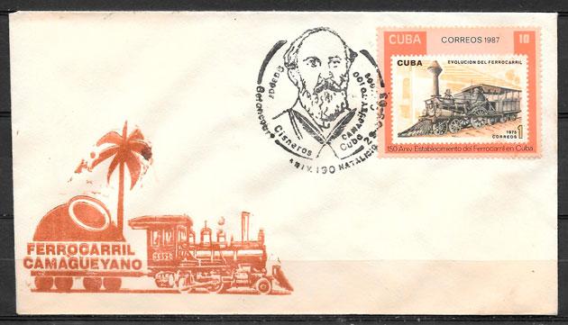 colección sellos trenes Cuba 1987