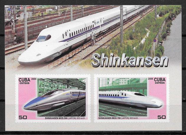 coleción sellos trenes Cuba 2009