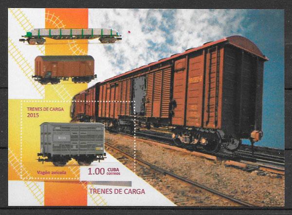 filatelia trenes Cuba 2015