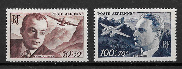 filatelia colección transporte Francia 1947