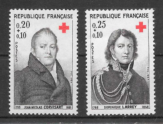 sellos cruz roja Francia 1964