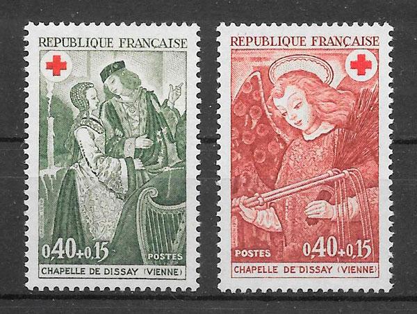 colección sellos cruz roja 1970 Francia