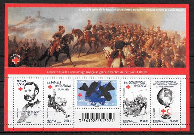 filatelia colección cruz roja Francia 2009