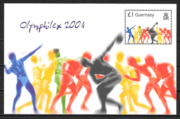 colección sellos olimpiadas Guersey 2004
