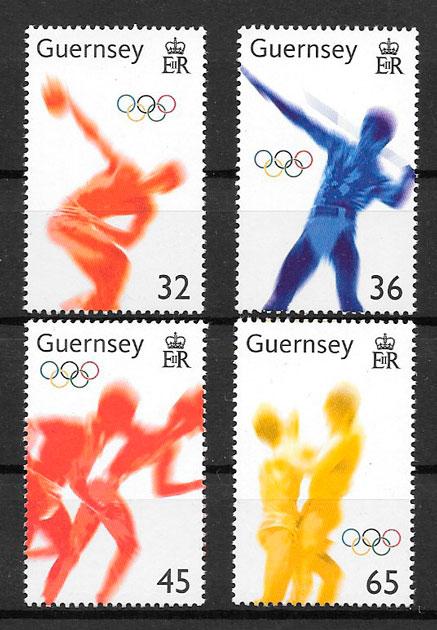 sellos olimpiadas Guernsey 2004