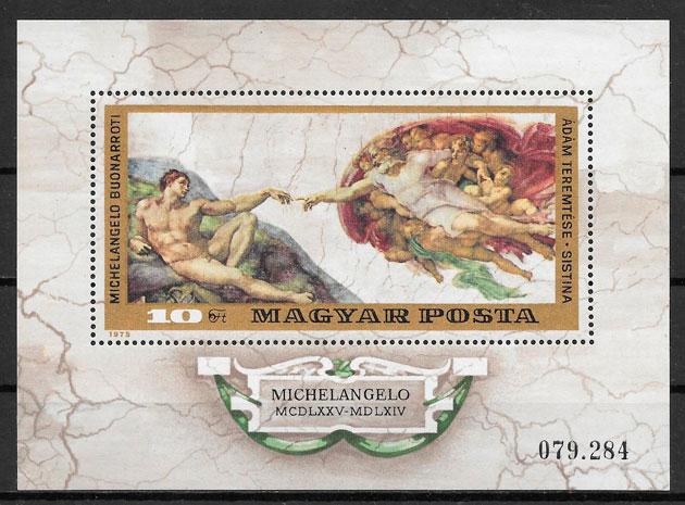 sellos pinturas Hungría 1975