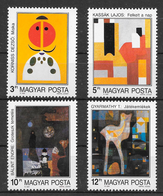 colección sellos pinturas Hungría 1989