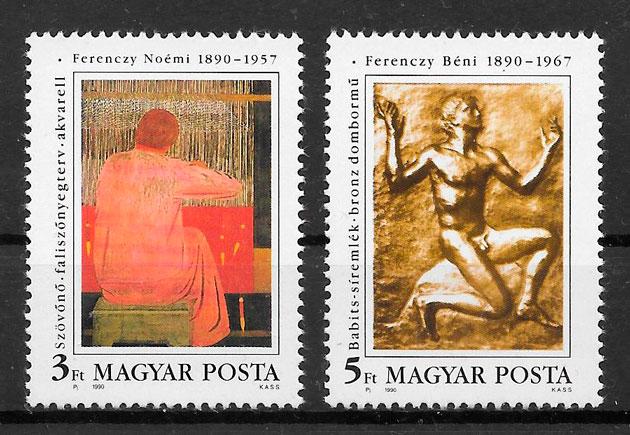 sellos arte Hungría 1990