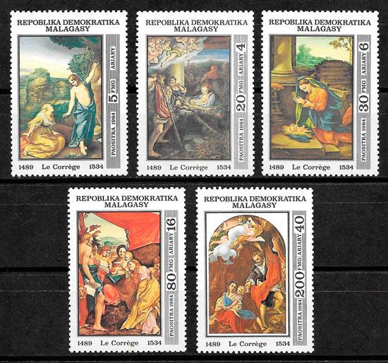 sellos pintura Madagascar 1984