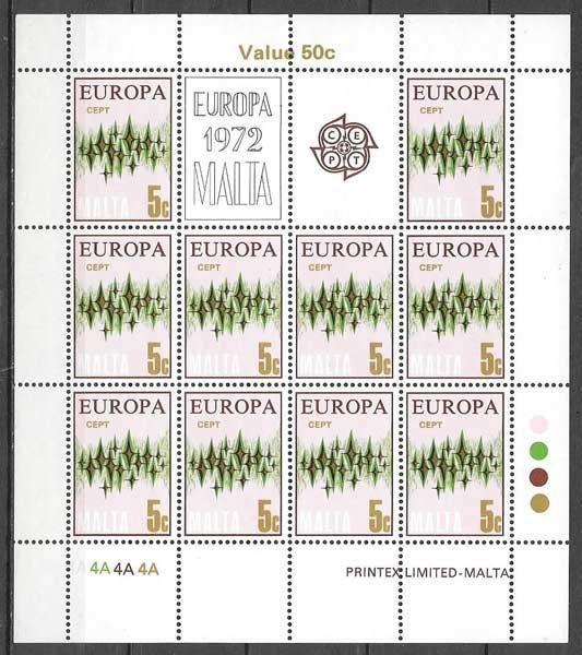 sellos Europa Malta 1972