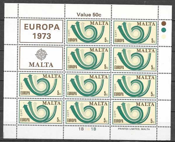 filatelia Europa Malta 1973