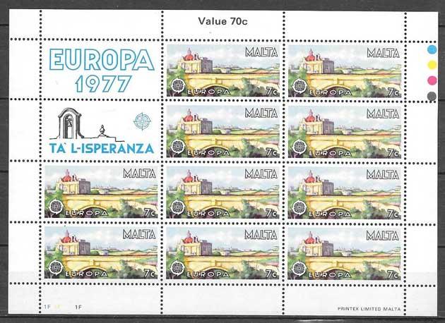 filatelia colección Europa Malta 1977