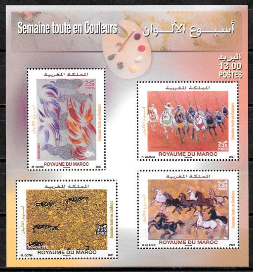 filatelia colección pintura Marruecos 2007