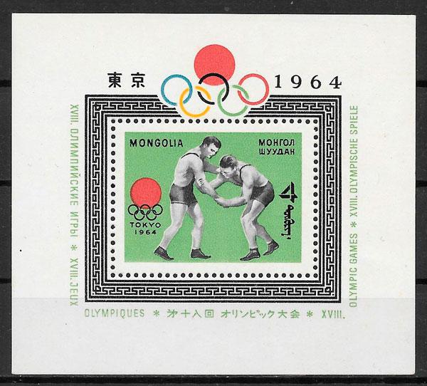 sellos olimpiadas Mongolia 1964